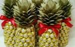 Как сделать ананас из шампанского и конфет